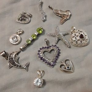 11 sterling silver pendant/charms